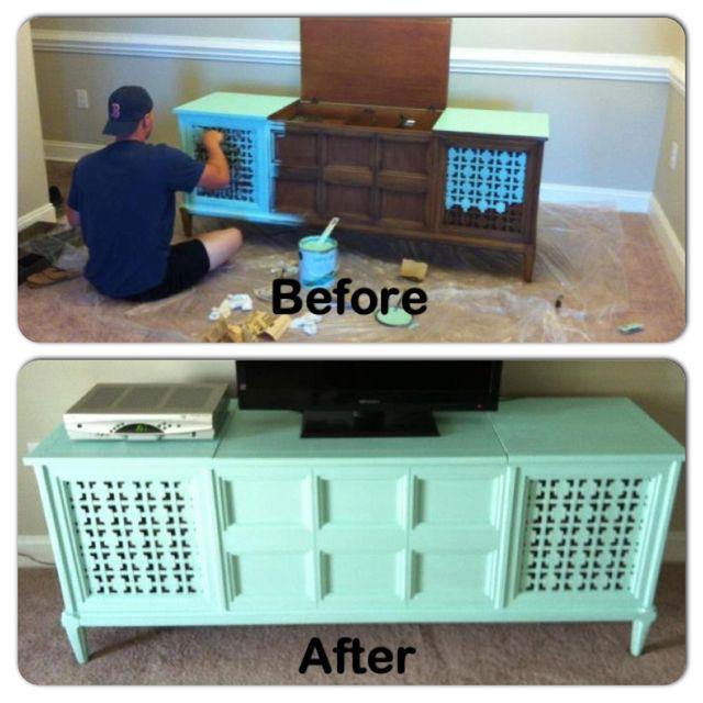 Aqua Refurbished Antique Home Decor Tv Stand For The