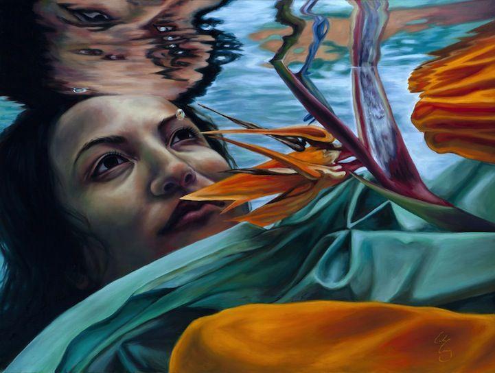 "Pinturas ""bajo el agua"": Oil Paintings, Mothers Natural Illustrations, Art Inspiration, Erika Craig, California Artists, Under, Underwater Paintings, Water, Artists Erika"