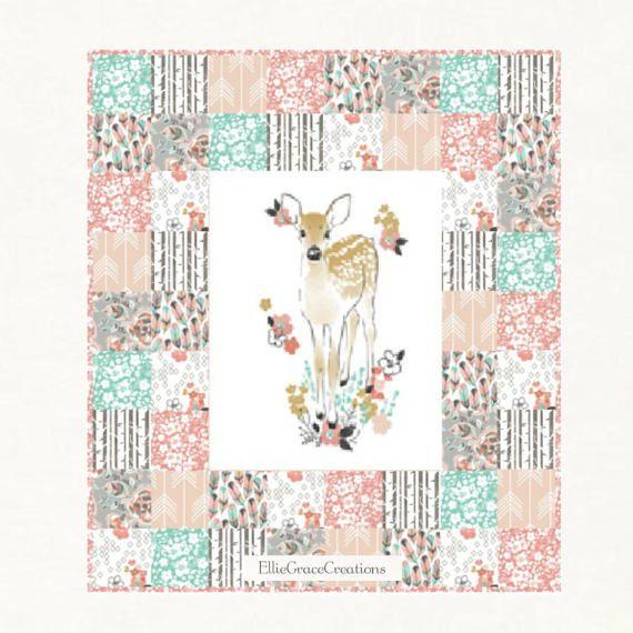 Fawn in Tulip Woodland Crib Bedding Girl by EllieGraceCreations