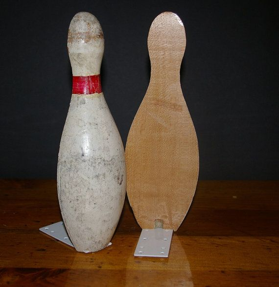 Two Bowling Pin Book Ends Pair Wood Vintage Antique recycled upcycle repurpose