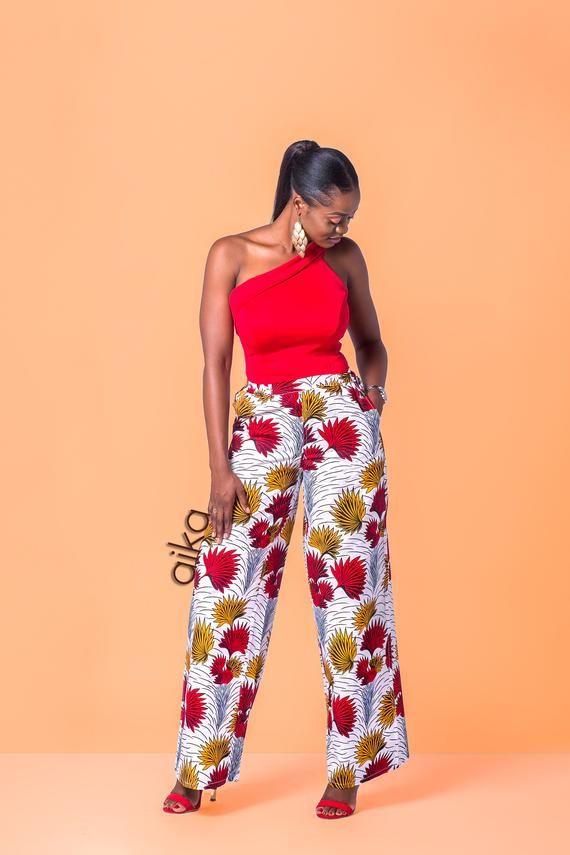 African Print Trousers  High Waist Trousers  Printed Trousers  African Wear Trousers  African Clothing for Women  Plus Size Ankara