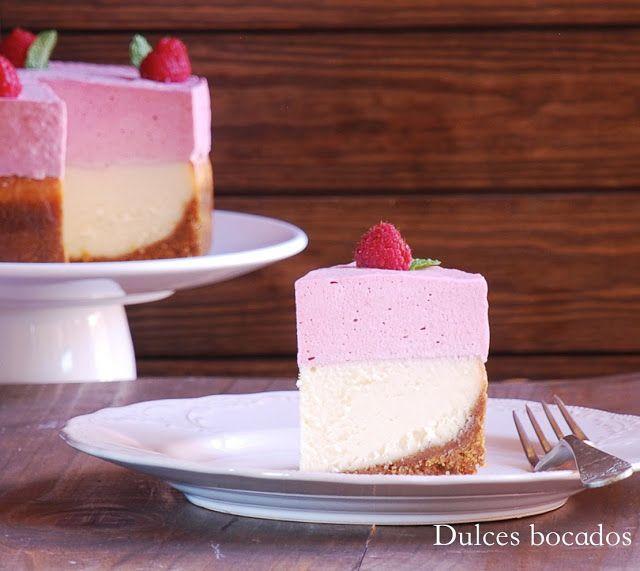 Dulces bocados: Cheesecake de chocolate blanco con mousse de frambuesas