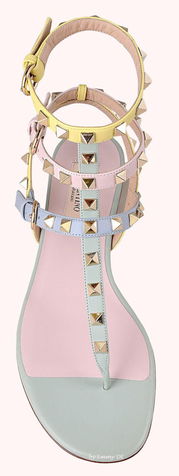 Brilliant Luxury by Emmy DE * Valentino Watercolor Rockstud Flat Sandal SS 2015