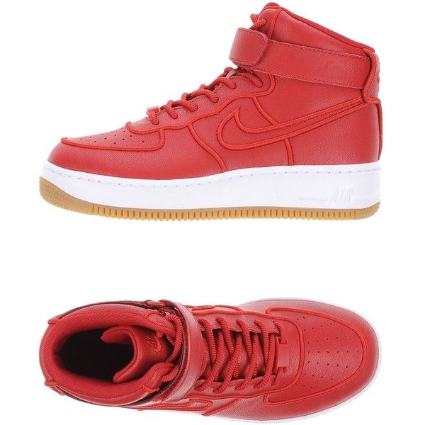 Nike High-tops & Sneakers ($150) ❤ liked on Polyvore featuring shoes, sneakers, red, leather sneakers, red high top sneakers, high top sneakers, nike sneakers and red hi top sneakers