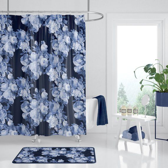 Dark Blue Roses Floral Shower Curtain Indigo Dark Floral Designer Decor Bold Retro Roses Deep Dark Rose Shower Curtain Floral Shower Curtains Blue Roses