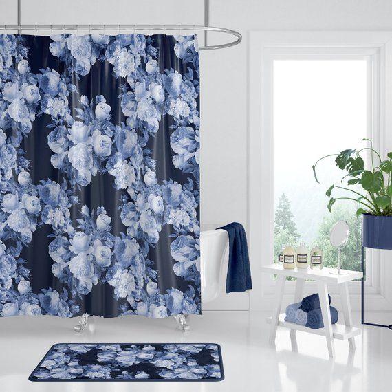 Dark Blue Roses Floral Shower Curtain Indigo Dark Floral