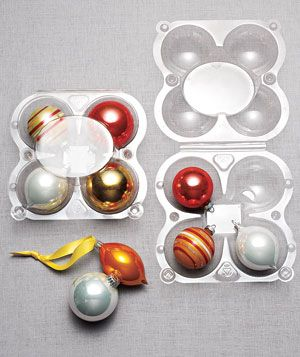 I never would have thought of this!: Holidays Ornaments, Plastic Apples, Organizations Ideas, Stores Ornaments, Ornaments Storage, Eggs Cartons, Wine Boxes, Christmas Ornaments, Real Simple