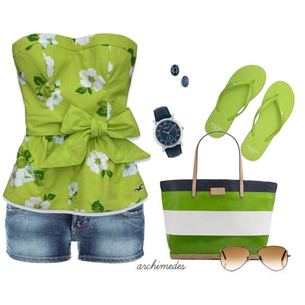 Cute and fun.: Summer Fashion, Casual Outfit, Shirts, Color, Beaches Outfit, Cute Summer Outfit, Green Outfit, Limes, Summer Clothing