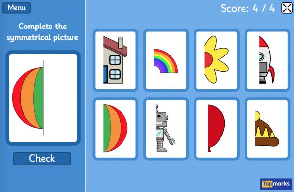 Free reflective Symmetry Matching game - Complete the picture along vertical line of symmetry