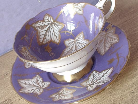 Antique Royal Stafford Purple tea cup and saucer, English bone china teacup, Antique tea cup, gold and white leaves, Antique wedding gift