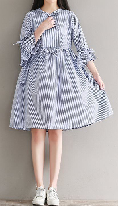 Women loose fit plus over size bell sleeve bow ribbon dress skater skirt chic #u…
