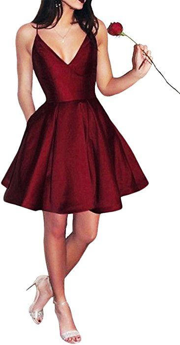 3e783a9413 Yangprom Short Spaghetti Straps V-Neck A-line Homecoming Dress with Pockets  (2