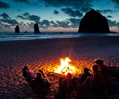 Oregon beach bonfire