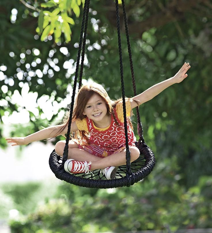 Round and round nylon rope outdoor swing kid stuff for Round porch swing
