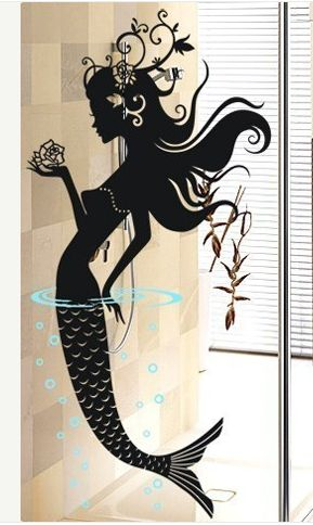 And now I want a nautical/mermaid themed bathroom so I could applique this onto a glass door or mirror.