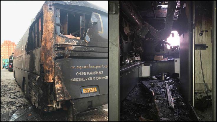 Detenido el pirómano que incendió el autobús del Aqua Blue Sport en la Vuelta a España