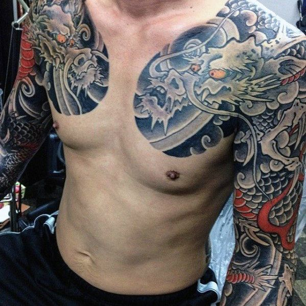 30 best japanese chest tattoos for men images on pinterest chest piece chest piece tattoos. Black Bedroom Furniture Sets. Home Design Ideas