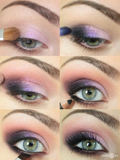 Purple smoky eye shadow, perfect for green eyes