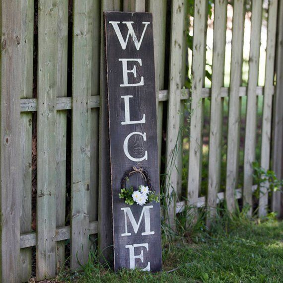 Welcome Porch Sign Measures 56x12 Or 40x7 5 56x12brown With White Font Shown Leave Us A Note Choose Flo Porch Welcome Sign Porch Signs Front Porch Decorating