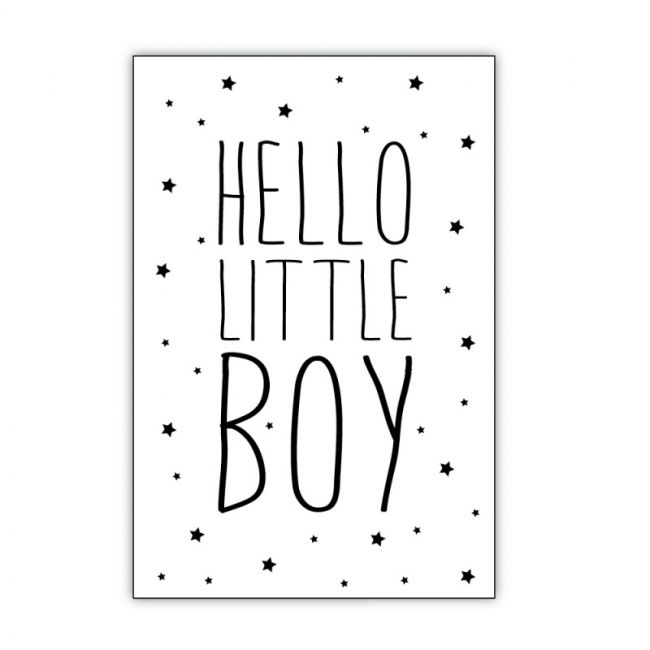 postkaart tekst hello little boy zwartwit