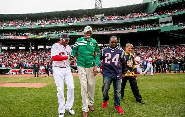 Ty Law, Bobby Orr, David Ortiz, and Bill Russell