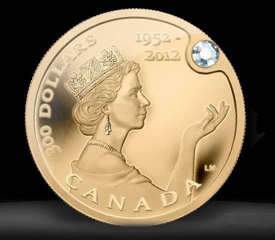 Queen Elizabeth Gold Coin worth three million. Gold coin is pure 99.999%, 1/10 ounce of gold and a beautiful jaw-dropping diamond.