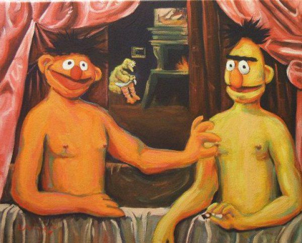 creepy bert and ernie funny haha and art. Black Bedroom Furniture Sets. Home Design Ideas