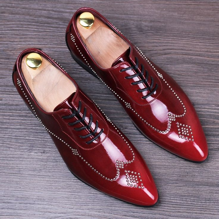 new 2016 men brogues shoes pointed toe genuine leather rivets oxfords italian men dress shoes red bottom shoes size 37-43