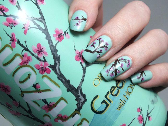 nail-art-manucure-tea-glace-iced-tea-arizona-honey-green-tea-sakura-cherry-blossom-japan-japon-asiatique-printemps-fleurs-chocolat-elf-kiko-...