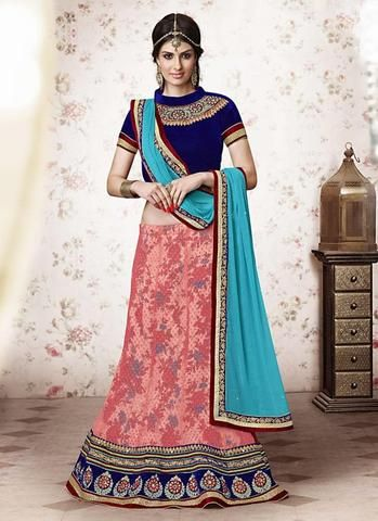 Salmon Pink Brasso,Net A Line Lehenga Sarees Fashion ,Indian Dresses - 1