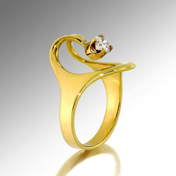 Fabulous ISIS Solitaire Diamond Ring K Yellow Gold rings Unique Engagement Ring Custom Egyptian