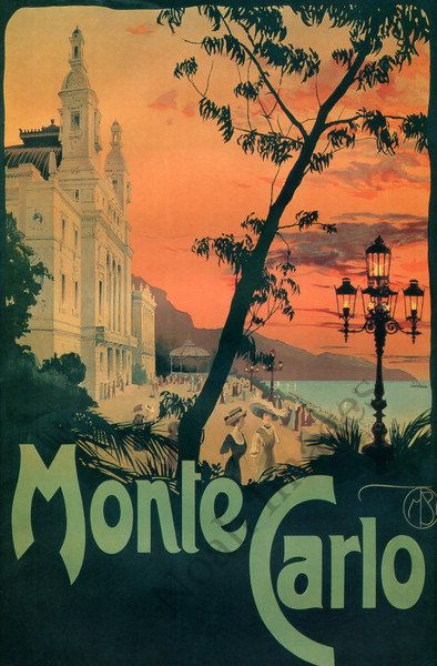 monte carlo posters | Monte Carlo vintage travel poster repro 20x30