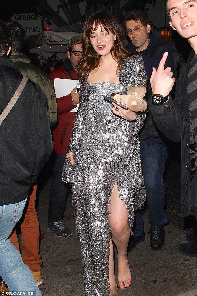 Comfier: The actress walked out of the Chateau Marmont in her bare feet on Sunday night...