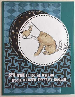 Art Impressions Rubber Stamps: Funny Farm: Doggy Kisses Set...handmade Get Well Soon card.