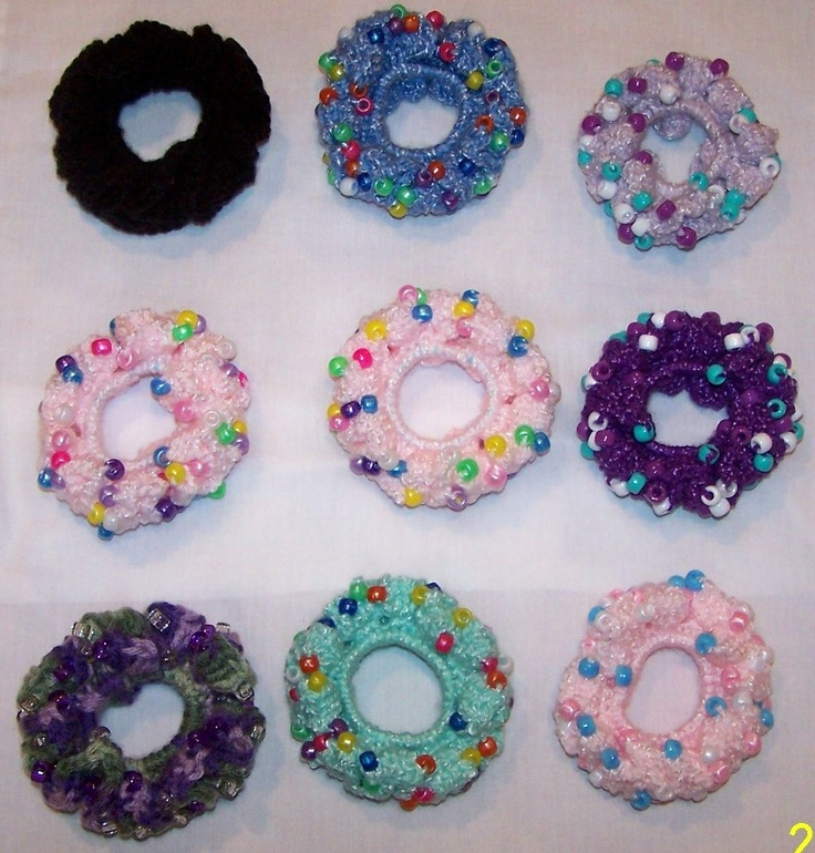 17 Best images about Crochet Beaded Hair Scrunchies I Made ...