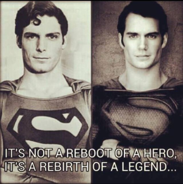 Superman then and now. They look so alike it's perfect :D I loved the old superman and the new one more than lived up to my idea of who superman was supposed to be.