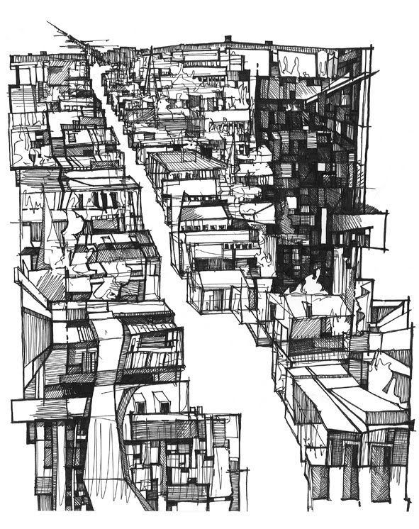charchitectural-review:   Neighbourhood Sketch by Kyle Henderson  Subscribe to The Architectural Review for £1/$1.5 a week