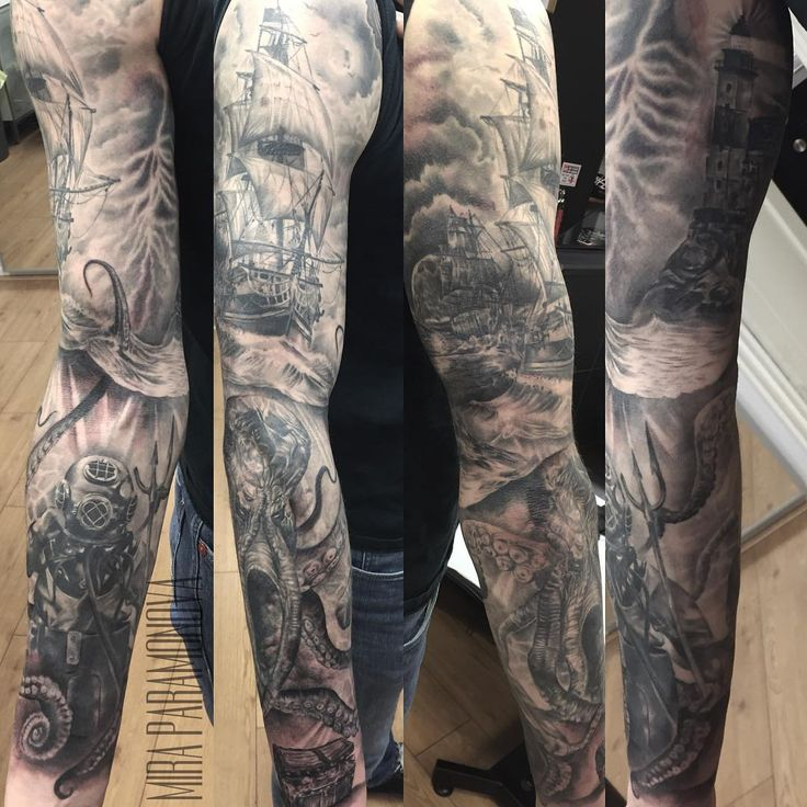 Finished Nautical sleeve done by Mira at Fat Fugu, Northampton (UK)