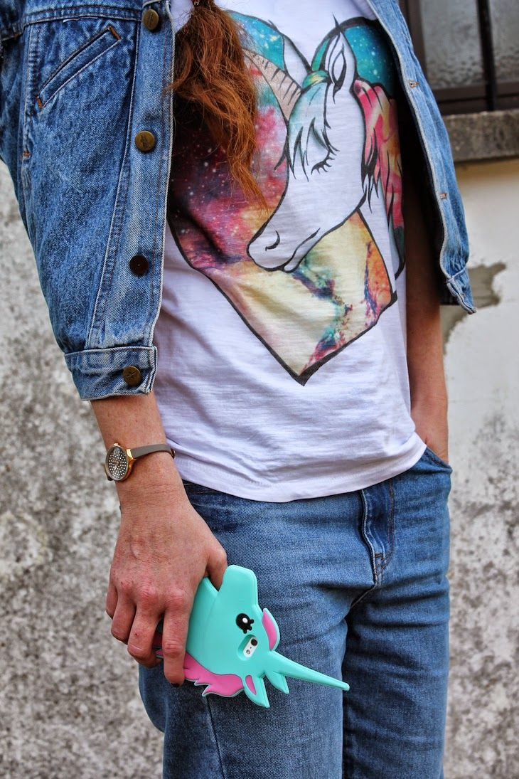 customized tshirt and decorated denim vest ( both by me )  tshirt e gilet in denim customizzati con  illustrazione e decorazioni  #outfit :) #tshirt  #denim #jeans #vest #unicorn #tee #unicorns #fairytales #fashionista #dyi #decorations #colorful #stylish #trend #designer #creatives #creativity #italy  #fashion #pink #fashionblogger #fashionblog #streetstyle