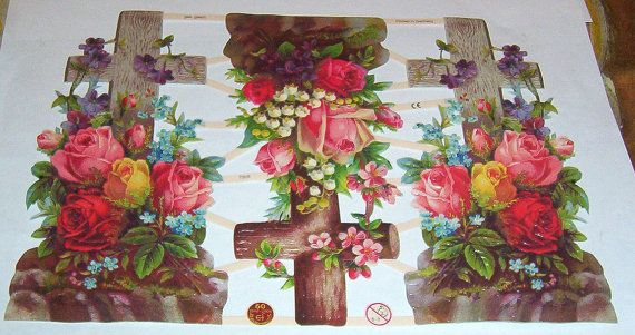 New German religious Victorian Easter crosses w flowers roses scraps diecuts sheet ef 7308 scrap booking card making embossed craft paper