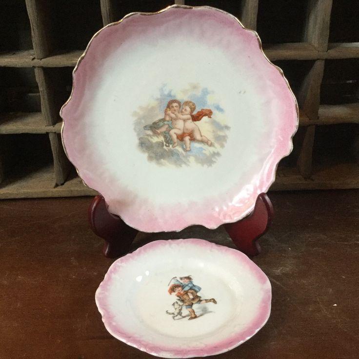 Vintage German Pink Lustre Pair of Plates / Cherubs