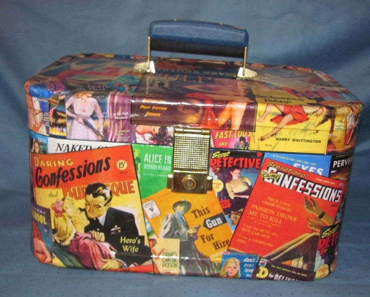Pulp Fiction paperback Upcycled Train Case vintage fun make up bag by Rhonda Gelstein of Funky Stuff Gifts  SOLD  www.facebook.com/funkystuffgifts