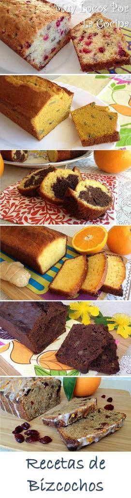 Una recopilación de las recetas de bizcochos de Muy Locos Por La Cocina. Puedes encontrarlas en www.muylocosporlacocina.com.