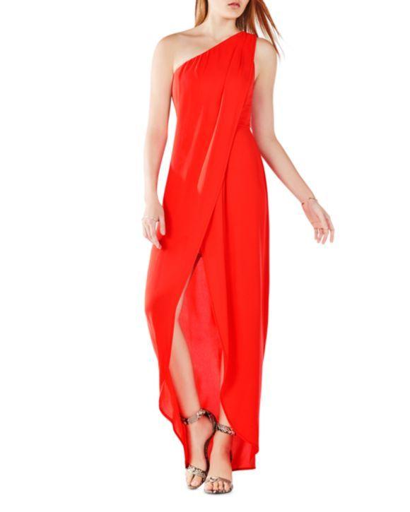 BCBGMAXAZRIA One-Shoulder Tulip Hem Gown