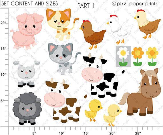 Animales de la Granja Set de Clip Art y por pixelpaperprints