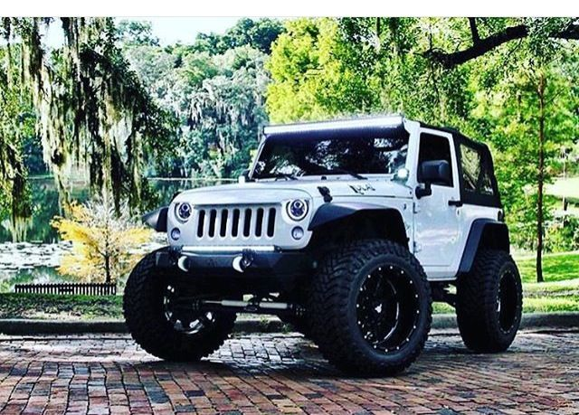 JEEP JK WHITE MODIFIED WHEELS LIFTED FRONT END CUSTOM #JEEP…