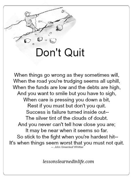 Lessons Learned in Life | Don't quit.