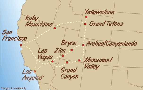 The National Parks Loop Tour:  Zion, Bryce, Arches/Canyonland, Monument Valley, Grand Canyon
