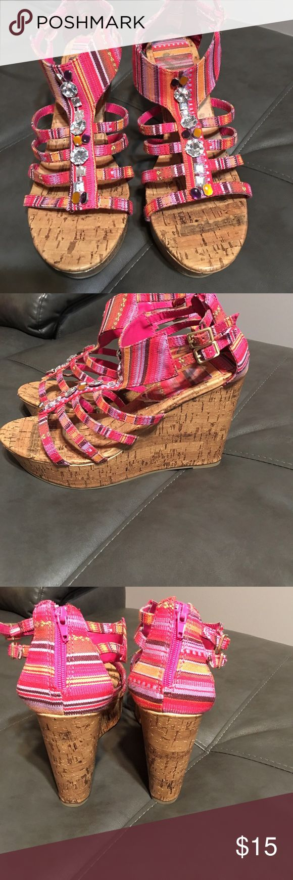 Super cute striped wedges with jewels Wedges in great condition Shoes Wedges
