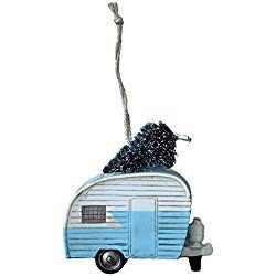 "3.5"" Polyresin Camper with Christmas Tree Ornament- Blue"